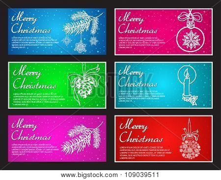 Happy New Year and Merry Christmas vector banner horizontal set with ball, toy, cone, branch