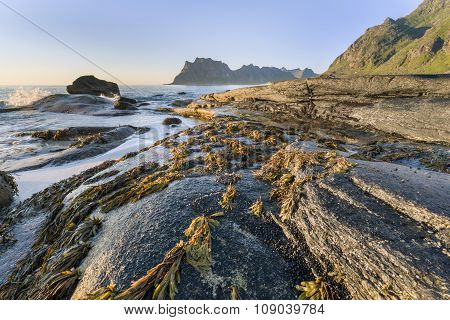 Utakleiv Beach, Lofoten Island Coastline, Norway