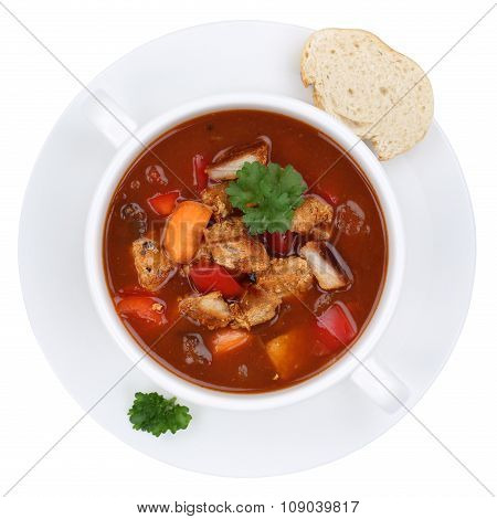 Goulash Soup With Meat And Paprika In Cup Isolated From Above