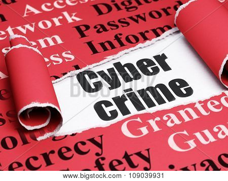 Safety concept: black text Cyber Crime under the piece of  torn paper