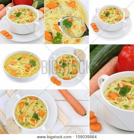 Collection Of 9 Noodle Soups In Bowls With Noodles