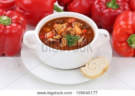 Goulash Soup With Meat And Paprika In Cup