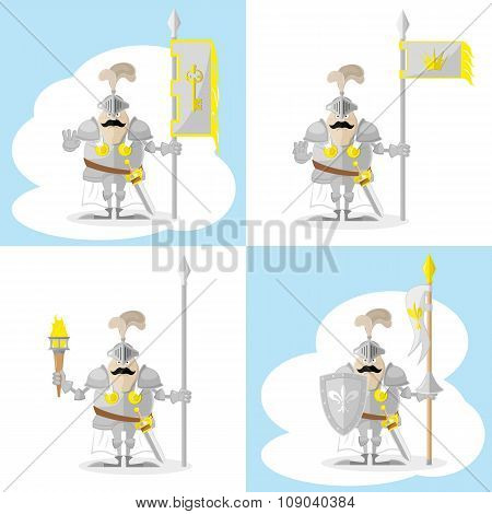 A Set Of Vector Shapes Funny Medieval Knight In White Cloak With Spear And Flag Isolated On White Ba