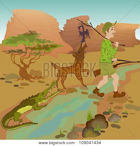 Cartoon hunter with bird, wolf and alligator.