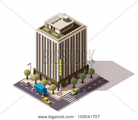 Isometric icon representing building with bank office