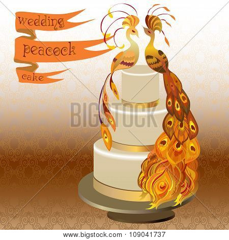Wedding cake with couple peacocks. Golden, orange yellow design.