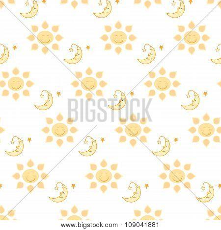 Sun And Moon Pattern On Transparent Background Illustration