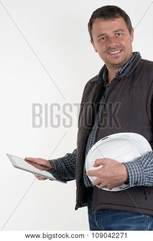 Architect Working On Tablet Pc Isolated Over White Background