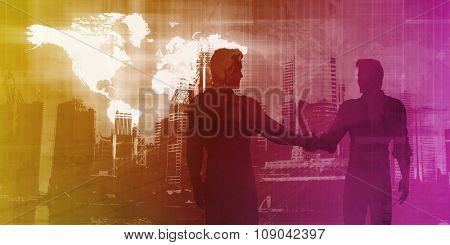 Business Presentation Abstract Background with Partners Shaking Hands