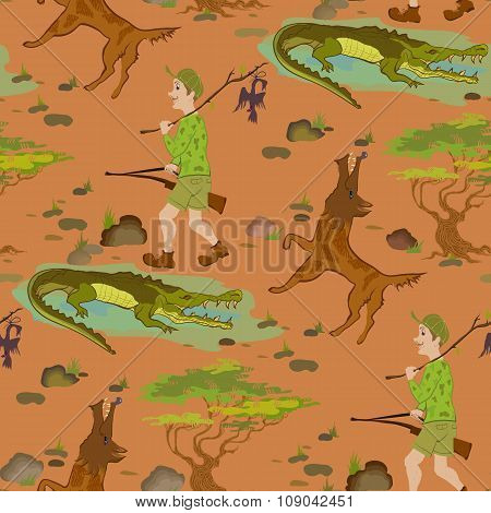 Seamless pattern with cartoon hunters, wolfs and alligators.