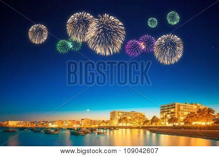 Beautiful Fireworks Under Ibiza Island Night View