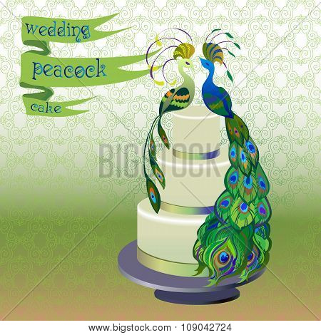 Wedding cake with couple peacocks. Green vector design.