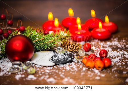 Beautiful Background Of Chinese New Year With Yin-yang Symbol, Apple, Cones, Red Ball, Fir Tree, Eig