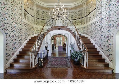Large Foyer With Double Staircase