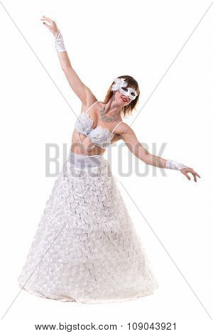 Carnival dancer girl wearing a mask dancing, isolated on white