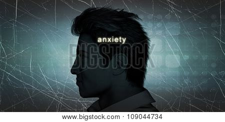 Man Experiencing Anxiety as a Personal Challenge Concept