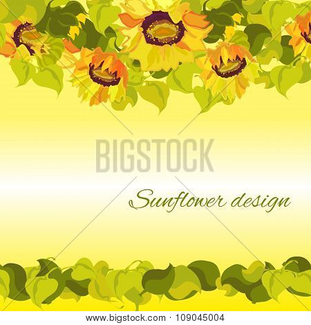 Sunflower yellow border horisontal gesign background. Text place.