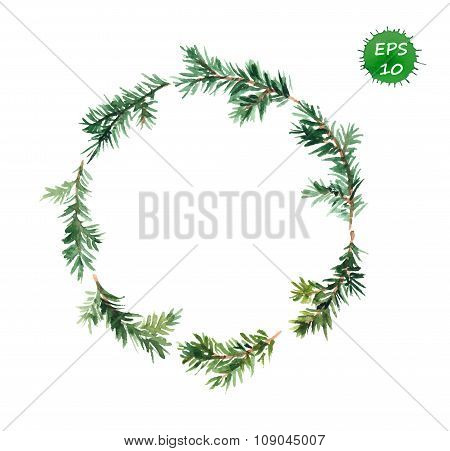Spruce wreath. Watercolor vector