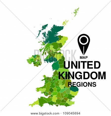 United Kingdom Green Map. Regions Of England