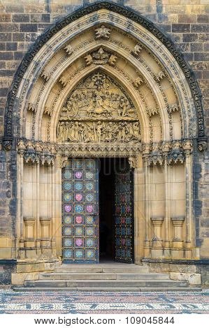Entry Door Of The Basilica Of St Peter And St Paul
