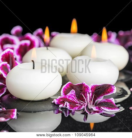 Beautiful Spa Concept Of Geranium Flower, Beads And Candles In Reflection Water, Closeup