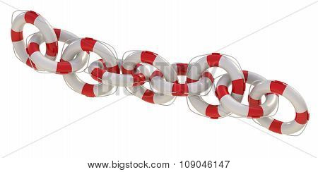 Red Life Buoy Chain On Isolated White Background.