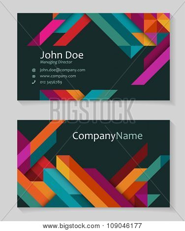 Colorful business card design, abstract triangles,eps10 vector