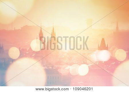 Prague Cityscape On Misty Morning, Retro Toned