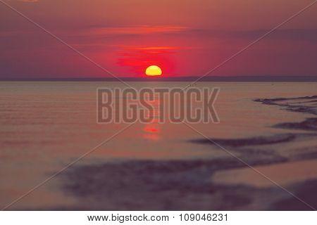 Scenic sunset at the sea coast