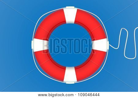 Red Life Buoy Chain On Isolated Blue Background.