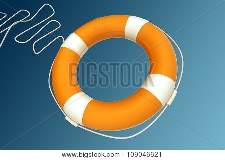 Yellow Life Buoy Chain On Isolated Blue Background.