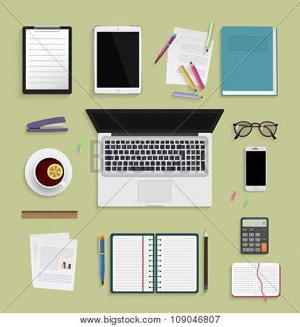 Flat modern design vector illustration concept of workplace with elements. Top view.