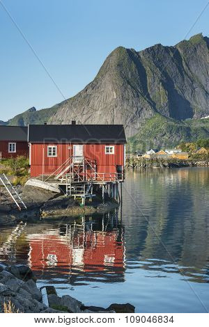 Red  Wooden House Called Rorbu On Lofoten Islands