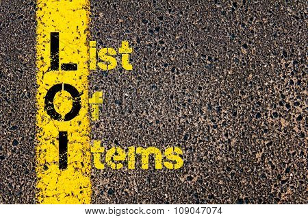 Business Acronym Loi As List Of Items
