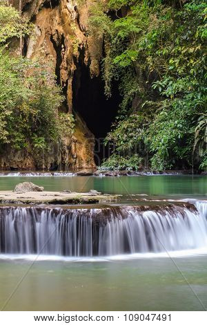 Paradise Waterfall With Cave, Located In Thanbok Khoranee National Park Of Thailand, Long Exposure S