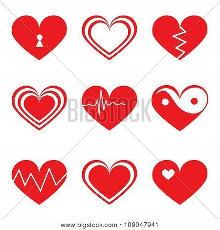 Hearts icons set in flat style