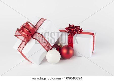 Christmas Presents And Christmas Balls, Isolated