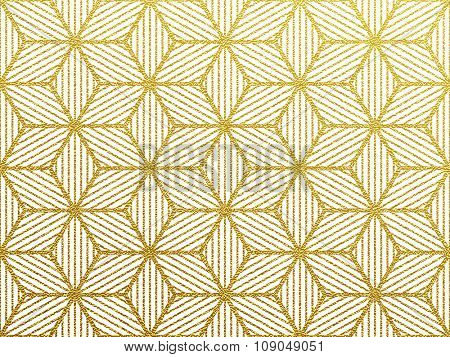 Seamless geometric gold glittering seamless pattern on white background.