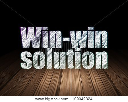 Finance concept: Win-win Solution in grunge dark room
