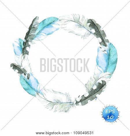 Feathers of blue bird. Wreath border. Watercolor vector for fashion