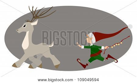Runing deer and cute Christmas elf