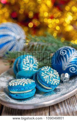 Blue Macarons With Christmas Decor.