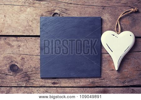 Decorative Heart  And Empty Slate Board