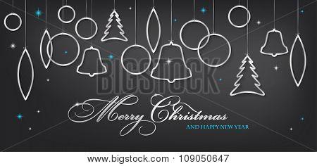 Christmas Card With Abstract Shiny Silver Christmas Balls