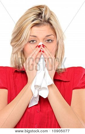 Infected Woman Blowing His Nose In Tissue Paper Because Of Being Ill
