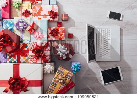 Laptop And Plenty Of Gifts