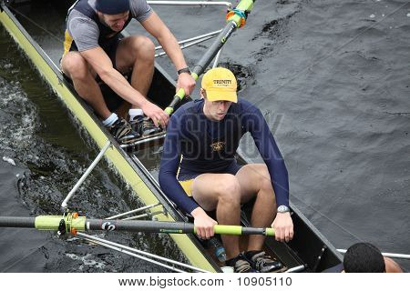 Boston - October 24: Trinity College Men's Crew Competes In The Head Of The Charles Regatta On Octob
