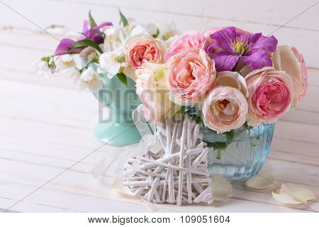Decorative Heart, Pink Roses, White Jasmine And Violet Clematis Flowers In Blue Vase