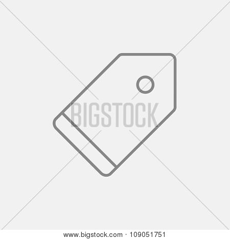 Empty tag line icon for web, mobile and infographics. Vector dark grey icon isolated on light grey background.