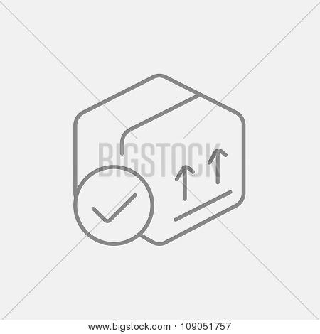 Carton package box with two arrows up line icon for web, mobile and infographics. Vector dark grey icon isolated on light grey background.